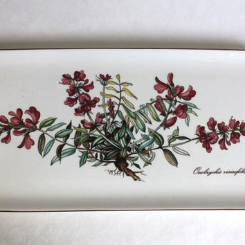 "Villeroy & Boch ""Botanica"" Onobrychis Viciaefolia Porcelain China Small Sandwich Tray, Rare Vintage Luxembourg Transfer Ware"