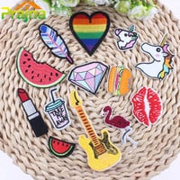 Lip Rainbow Unicorn Patch Food DIY Small Cheap Embroidered Cute Patches Hippie Iron On Kids Cartoon Patches For Clothes Stickers