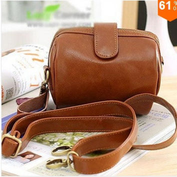 women bag PU Leather women messenger bag designer Rivet Camera bag women handbag day clutch women shoulder bags (Color: Brown) = 1669448004