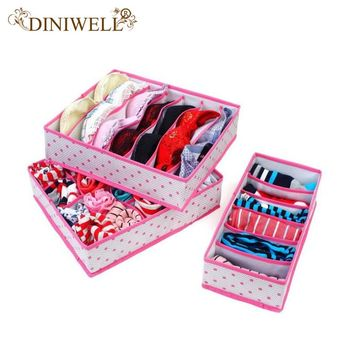 DINIWELL 3PCS Rose Dot Non-woven Design Home Folding Storage Box For Underwear Sock Bra Ties Organizer Drawer Divider Container