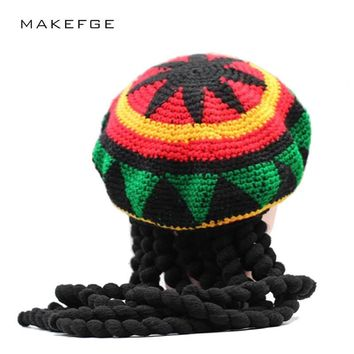 f3f493add6c2d1 dreadlocks hat Jamaica Rasta Gorro Slouchy Beanie Hat Winter War