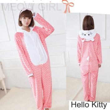 Pink Dots Hello Kitty - Pajamas Anime Onesuit Cosplay Costume Unisex Sleepwear Party Nightgown Pockets