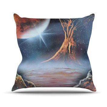 "Infinite Spray Art ""Embark"" Nature Blue Throw Pillow"