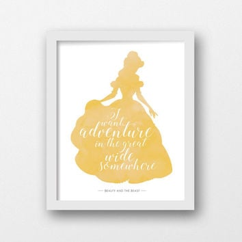Beauty and the Beast, Belle, Disney print, Disney quote, Disney princess, Gold, Printable art, Girls room decor, wall art, Girls nursery