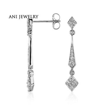 14KT White Gold 0.6 ct Certified I/SI1 Real Diamond  Long Drop Earrings