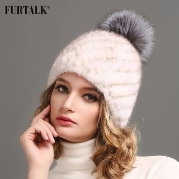FURTALK Thick winter hat suiatble for cold winter Genuion mink fur cap hat beanie for women