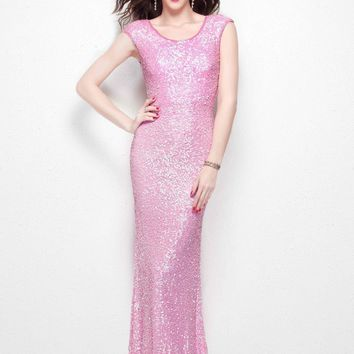 Primavera Couture - 1254 Sequined Scoop Neck Fitted Dress