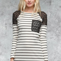 The London Cream Long Sleeve Striped Dress With Lace Contrast