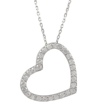 Rhodium Plated Sterling Silver Open Heart CZ Pendant