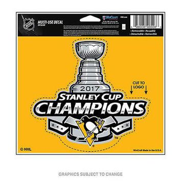 """Licensed Pittsburgh Penguins 4.5"""" x 6"""" 2017 Stanley Cup Champions Car Decal 4.5x6 KO_19_1"""