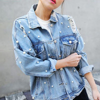 Pearls Beading Ripped Jean Jacket