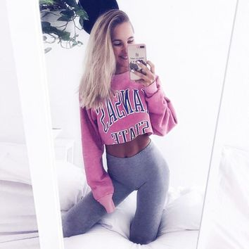 KANSAS STATE Long Sleeve Pink Crop Top Pull over [510292951094]