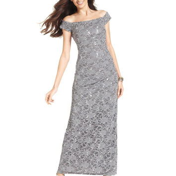 Alex Evenings Dress, Off-The-Shoulder Sequin Lace Evening Gown