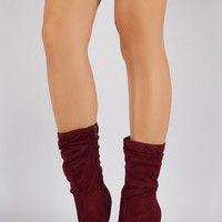 Anne Michelle Suede Slouchy Pointy Toe Mid Calf Boots