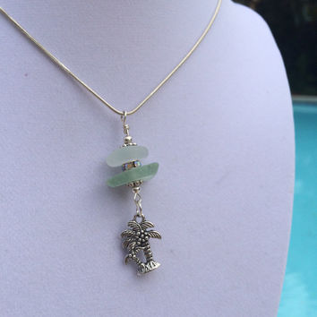 Frosty White Aqua Coke bottle Beach Glass antique silver 3d Palm Tree Charm SeaGlass Necklace, Sea Glass Jewelry, Beach Glass Jewelry