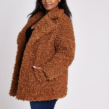 Plus brown faux fur coat - Coats - Coats & Jackets - women
