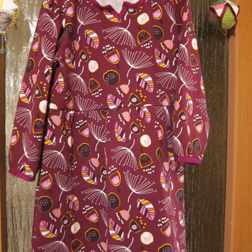 Warm long arm organic jersey dress for Girls US size 5, Size 98 Fall dress, Tunica