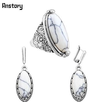 Classic Eye Shape Stone Earrings Ring Jewelry Set Vintage Look Antique Silver Plated Copper Hook Gift