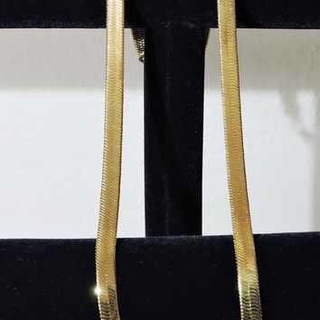 24K Gold Plated Herringbone Chain Extra Wide Necklace Lobster Claw