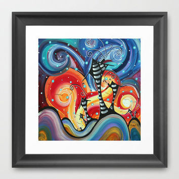 Colorful Original Abstract Landscape Funky House Painting HOMELAND by MADART Framed Art Print by Megan Duncanson   Society6