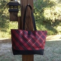 LANCOME RED AND BLACK PLAID TOTE BAG NEW