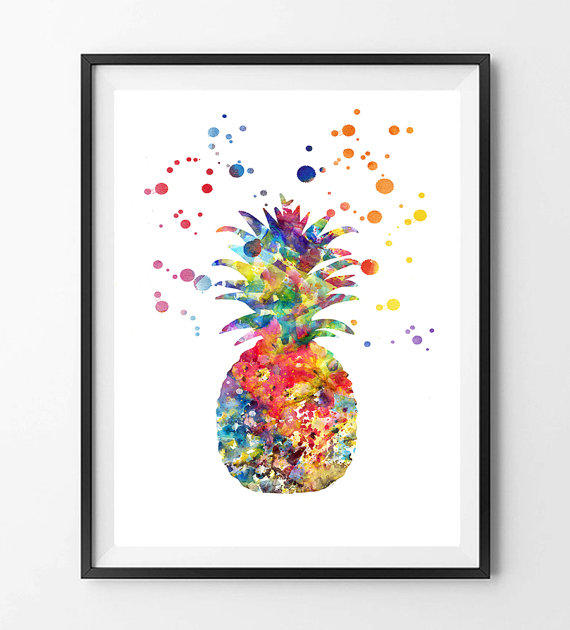 Pineapple Watercolor Print Wall Art From Mimiprints By