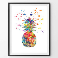 Pineapple Watercolor Print, Wall Art Poster, Botanical Art, Art for kitchen, Kitchen decor, Fruit watercolor, vertical painting