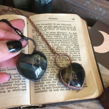 Blue Tigers Eye Necklace / Crystal Heart Necklace / Electroformed Jewelry / Healing Crystal Necklace / Hawks Eye / Large Crystal Necklace
