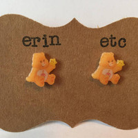 Handmade Plastic Fandom Earrings - Carebears - Birthday Bear