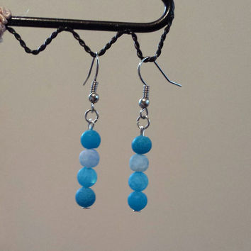 Blue Frosted Agate Beaded Dangle Earrings. Handmade Jewelry.