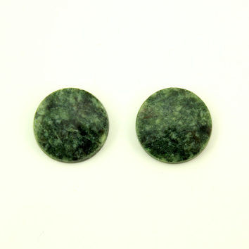 Natural Wyoming Jade Stone 13 mm Round Magnetic Non Pierced Clip On Earrings