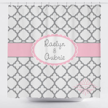 Custom Designed Quatrefoil   Gray And Pink Shower Curtain, Boys And Girls  Bathroom, Personalized