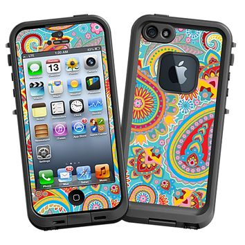Aqua Blue and Sunshine Paisley Skin  for the iPhone 5 Lifeproof Case by skinzy.com
