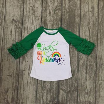 St Patrick baby girls three quarter cotton boutique top T-shirt raglans clothes lucky like a unicorn ruffles rainbow shamrocks