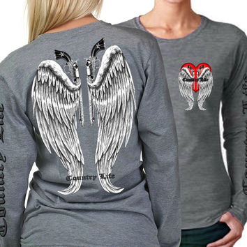 Country Life Outfitters Wings Guns Vintage Gray Long Sleeve Bright T Shirt