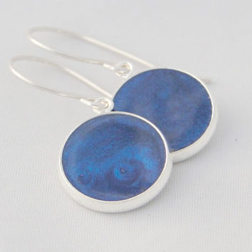 Cute Circle Blue Resin Earrings