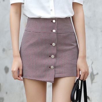 Yichaoyiliang Women's Houndstooth Metal Buttons Closure A-line Mini Skirt Vintage Summer High Waist Preppy Style  Plaid Skirt