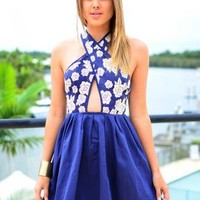 Blue Cross Over Cutout Dress with Floral Print Detail