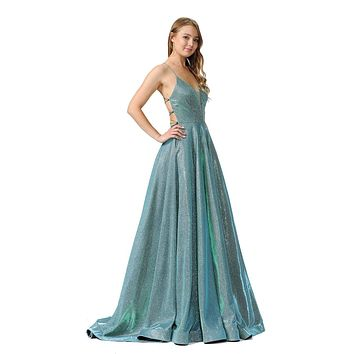 Teal Green Glitter Long Prom Dress with Strappy Back