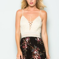 Lace and Print Mix Romper