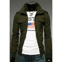Army Green Multi-Pocket Long Sleeves Jacket