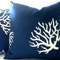 Beach house decorative Navy with white coral pillow cover 18 x 18
