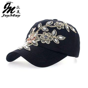 DCCKWJ7 2016 Women Variety Rhinestone &Crystal Shining Studded Cotton Denim Visor Hat Bling Adjustable Baseball Caps Free Shipping B038