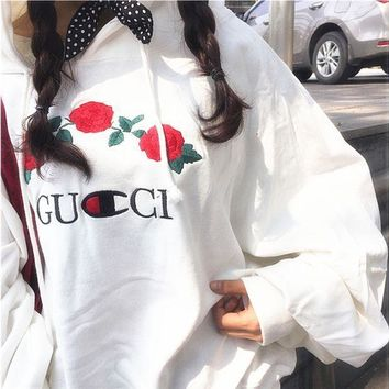 GUCCI Hot Sale Embroidery Rose Flower Blouse loose type Hoodie Sweatershirt White
