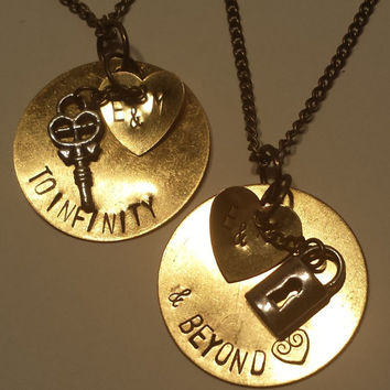 Hand Stamped To Infinity and Beyond Necklace Set with Lock and Key charms.