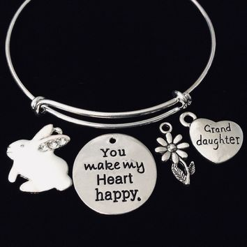 Granddaughter You Make My Heart Happy Expandable Charm Bracelet Silver Adjustable Bangle Trendy Bunny Rabbit Easter Gift