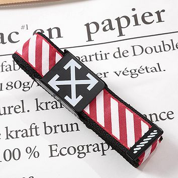 Off White Fashion New Stripe Arrow Print Leisure Canvas Belt 110cm Red