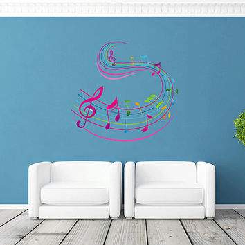 kcik287 Full Color Wall decal treble clef music notes bedroom living room