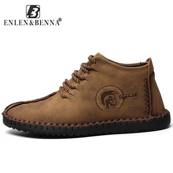 Men's Hand Sewn Suede Shoes with Non-slip sole