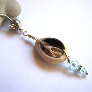Cowrie Shell Belly Button Ring, Seashell Belly Button Jewelry, Cowry Bellyring
